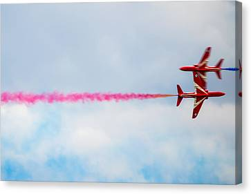 Opposing Forces Canvas Print - Red Arrows - Opposing Barrel Roll by Scott Lyons