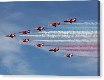 Red Arrows V Formation Canvas Print by Phil Clements