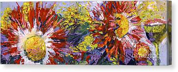 Red Asters Modern Impressionist Flower Painting Canvas Print by Ginette Callaway