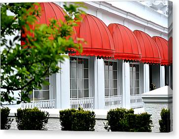 Red Awnings At The Greenbrier Canvas Print by Chastity Hoff