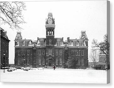 Red Backpack In Snow Storm Woodburn Hall Canvas Print by Dan Friend
