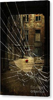 An Old Courtyard And Red Baloon On The Floor Seeing Through Broken Window Glass Canvas Print by Jaroslaw Blaminsky