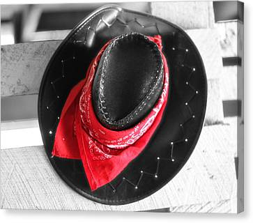 Red Bandana And Cowboy Hat Canvas Print by Dan Sproul