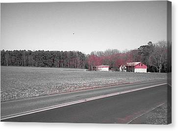 Canvas Print featuring the photograph Red Barn  by Amazing Photographs AKA Christian Wilson