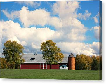 Red Barn And Clouds Canvas Print