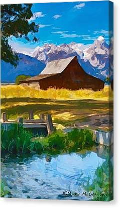 Canvas Print featuring the digital art Red Barn And Mountains  by Mary M Collins