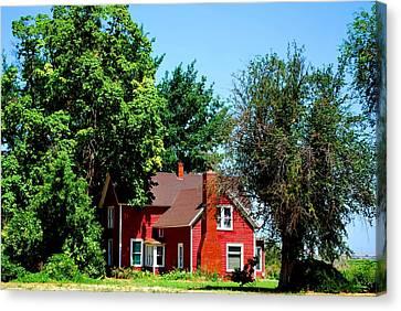 Red Barn And Trees Canvas Print by Matt Harang