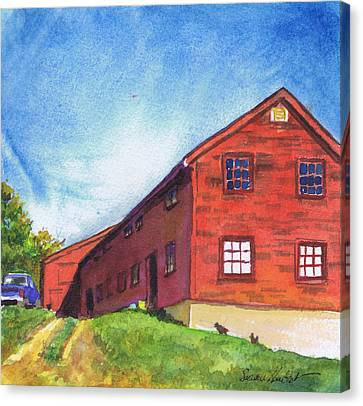 Canvas Print featuring the painting Red Barn Apple Farm New Hampshire by Susan Herbst