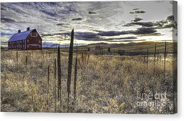 Red Barn At Sunset Canvas Print by Kristal Kraft