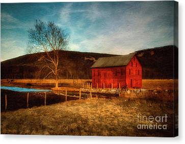 Red Barn At Twilight Canvas Print by Lois Bryan