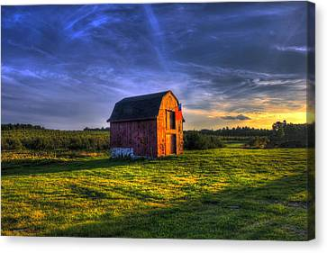 Red Barn Autumn Sunset Canvas Print