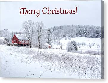 Red Barn Christmas Card Canvas Print
