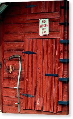 Red Barn Door 003 Canvas Print by George Bostian
