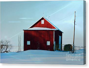 Red Barn During Illinois Winter Canvas Print by Luther Fine Art