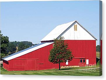 Canvas Print featuring the photograph Red Barn by Gena Weiser