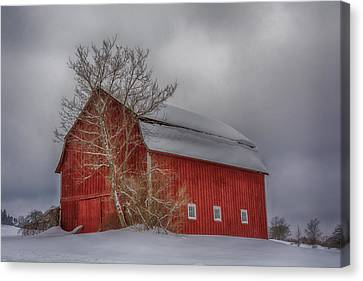 Red Barn In Hdr Canvas Print by Guy Whiteley
