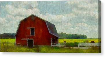Red Barn In Ohio Canvas Print by Dan Sproul