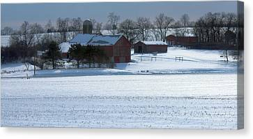 Red Barn In Snow Cover Canvas Print