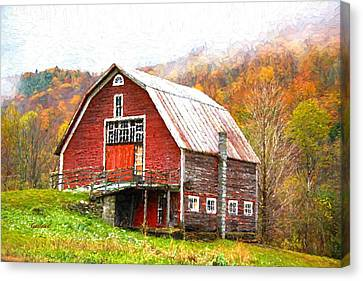 Red Barn In The Mountains Canvas Print