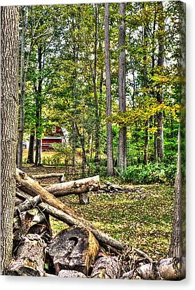 Red Barn In The Trees Canvas Print by Heather Allen