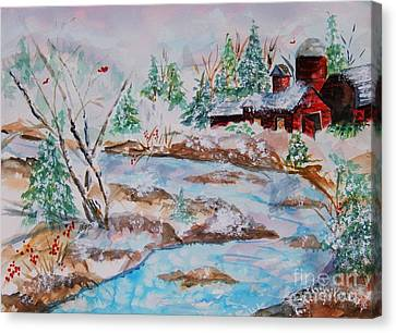 Red Barn In Winter Canvas Print by Ellen Levinson