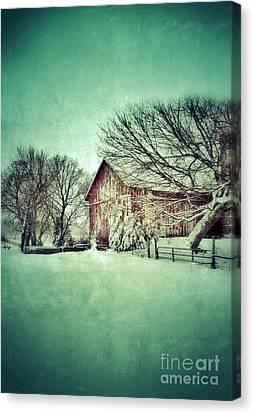 Red Barn In Winter Canvas Print by Jill Battaglia