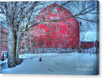 Red Barn In Winter Canvas Print by Terri Gostola