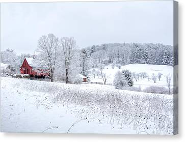 Red Barn In Winter Wonderland Canvas Print