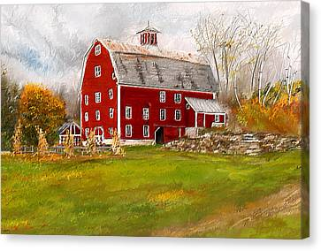 Red Barn In Woodstock Vermont- Red Barn Art Canvas Print by Lourry Legarde
