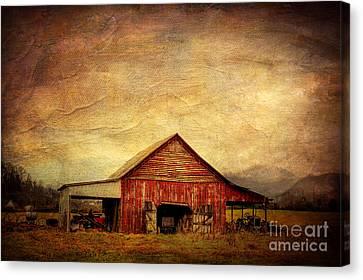 Red Barn  Canvas Print by Joan McCool