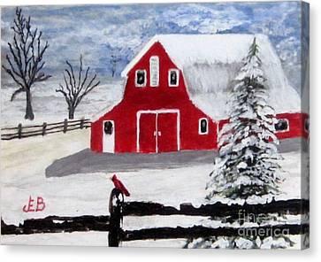 Red Barn Canvas Print by John Burch