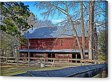 Red Barn Canvas Print by Linda Brown