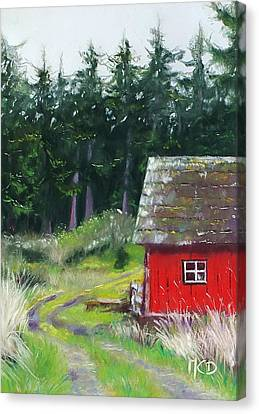 Gravel Road Canvas Print - Red Barn by Marie-Claire Dole