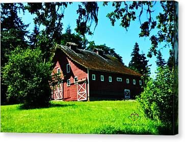 Canvas Print featuring the photograph Red Barn  by Mindy Bench