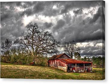 Red Barn On The Boswell Farm Canvas Print by Reid Callaway