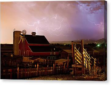 Cattle Run Canvas Print - Red Barn On The Farm And Lightning Thunderstorm by James BO  Insogna