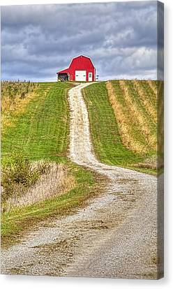 Red Barn On The Hill Canvas Print