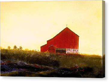 Red Barn On The Rocks Canvas Print by William Renzulli