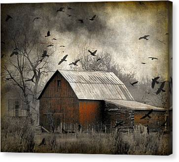 Dark Skies Canvas Print - The Old Red Barn by Gothicrow Images