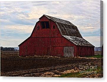 Red Barn Photoart Canvas Print by Debbie Portwood