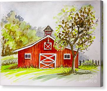 Red Barn Quebec Canada Canvas Print