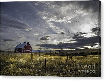 Red Barn Southbound Train Canvas Print