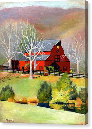 Red Barn Star  Canvas Print by Catherine Twomey