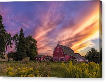 Red Barn Sunset 2 Canvas Print by Mark Papke