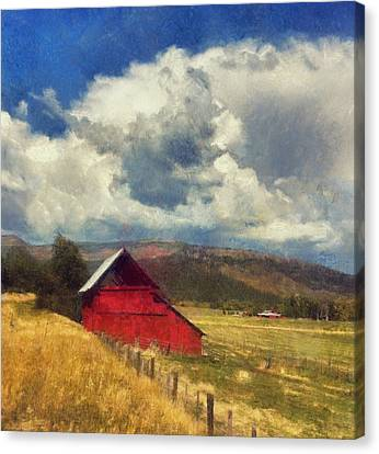 Red Barn Under Cloudy Blue Sky In Colorado Canvas Print