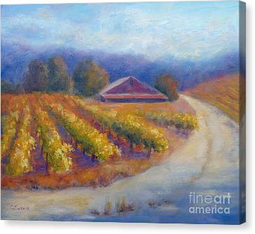 Red Barn Vineyard Canvas Print by Carolyn Jarvis