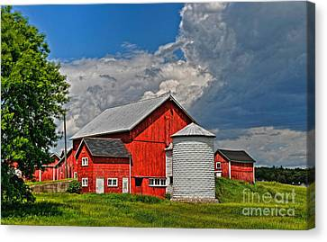 Red Barn White Silo Canvas Print by Trey Foerster