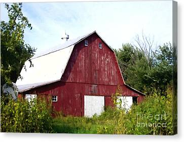 Red Barn With Blue Sky Canvas Print by Lanjee Chee