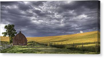 Red Barn With Lamas Canvas Print by Latah Trail Foundation