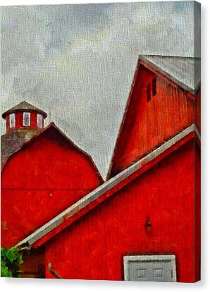 Red Barns At Amish Acres Canvas Print by Dan Sproul